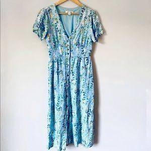 Blue floral button front dress